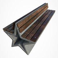 park bench star 3D