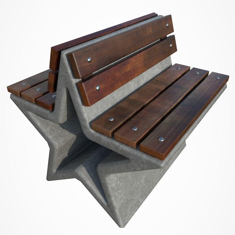 3D park bench star model