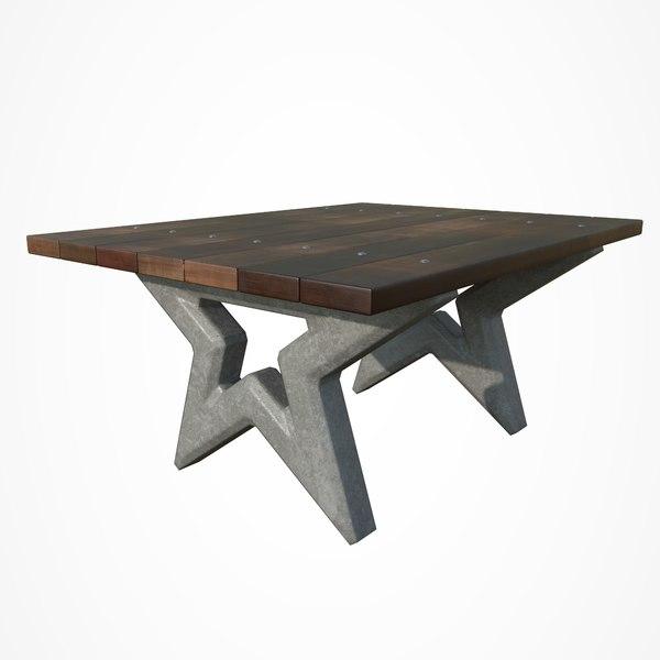 3D model park table star