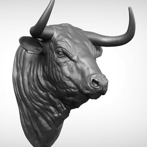 bull head realistic 3D model