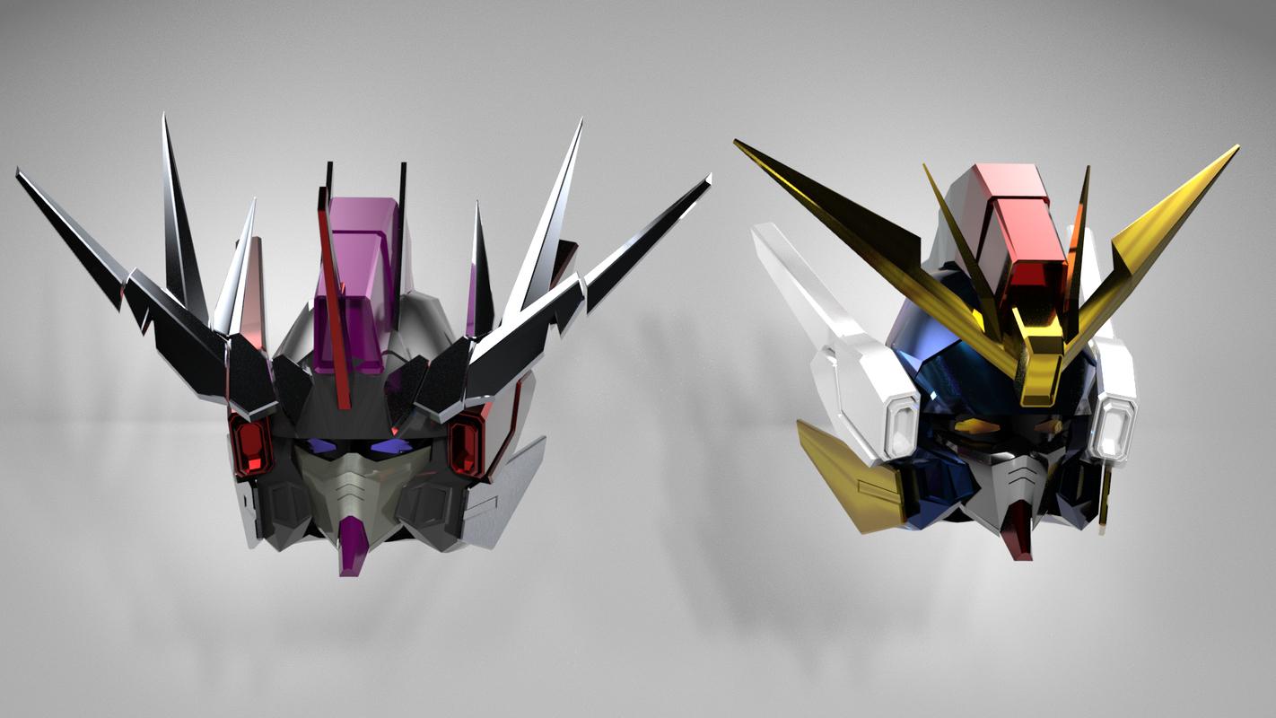 3D gundam head model