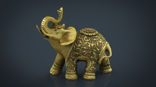3D gold elephant