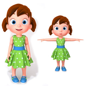 cartoon little girl character body 3D