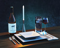 place setting wine modern 3D model