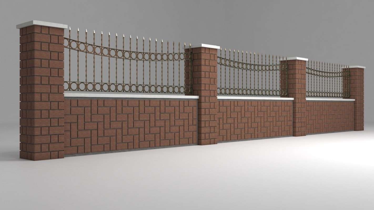 garden wall wrought iron 3D