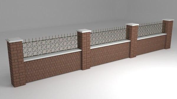 3D model garden wall wrought iron