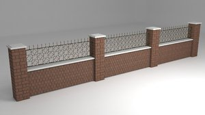 3D model garden wall wrought iron