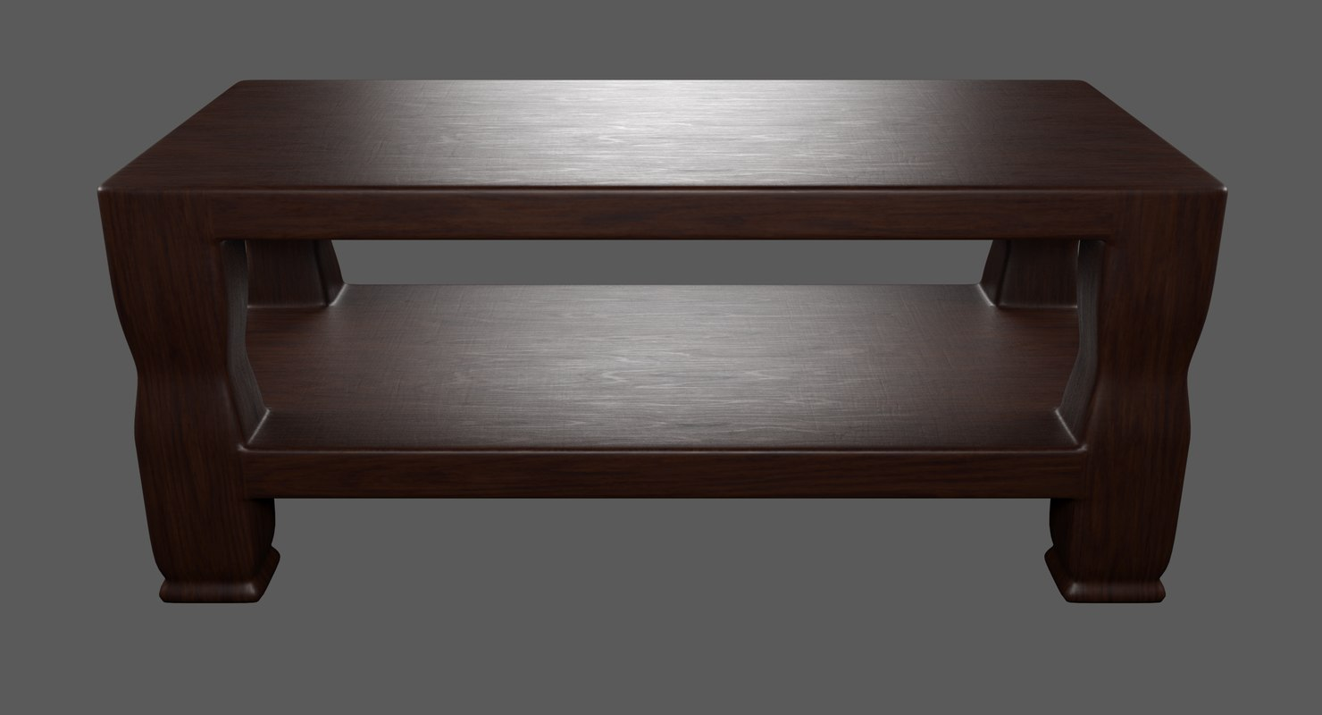 brown double deck wooden table 3D