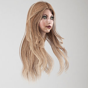 3D model female hair 3 colors