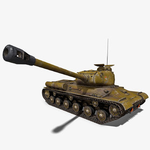 low-poly soviet tank is-2 3D model