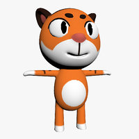 3D cartoon toon tiger