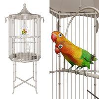 3D cage lovebirds model