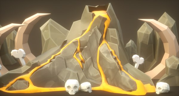 volcano rock cartoon pack 3D model