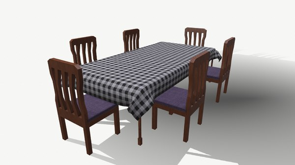 3D dining table chair model
