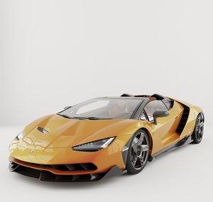 3D centenario sports car