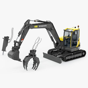 ecr88d compact excavator rigged 3D model