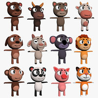 3D animals bear bull cat