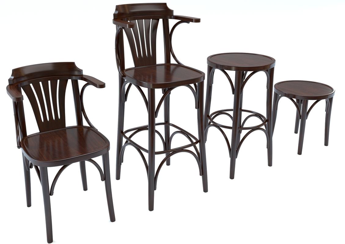 3D bar chair set model