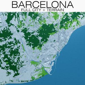 3D barcelona city terrain buildings
