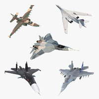 Rigged Russian Millitary Airplanes 3D Models Collection 2