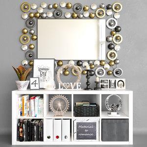3D model mirror set decor