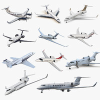 rigged business jets 4 aircraft 3D model
