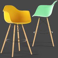 loftdesigne stool 3755 eames plastic 3D