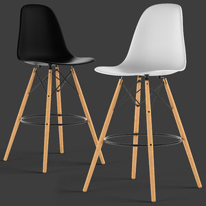 3D loftdesigne stool 3753 eames plastic model