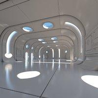 3D model futuristic interior scene