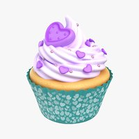 3D cupcake purple heart