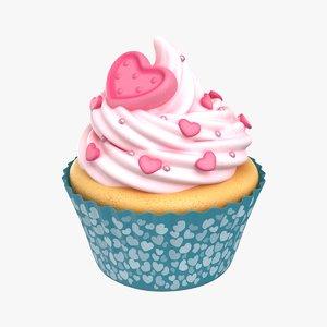 cupcake rose heart 3D model