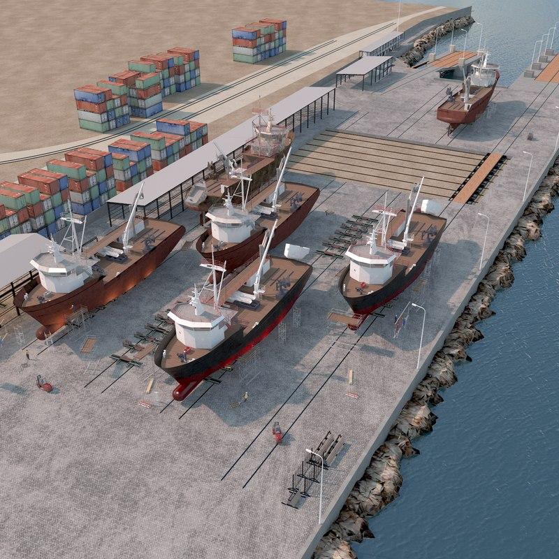 shipyard fishing boat 3D model
