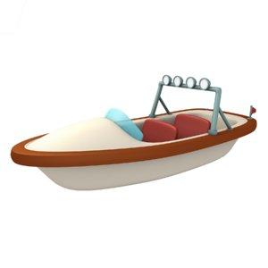 3D cartoon boat yacht