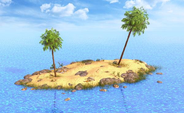 3D model palm island