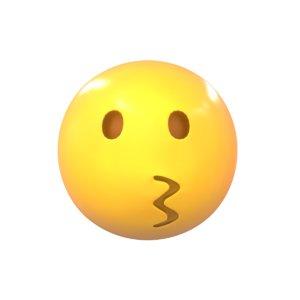 3D model emoji kissing face