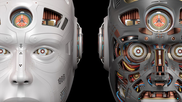 futuristic robot head 2 3D model