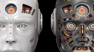 futuristic robot head 2 3D model