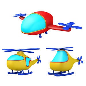 cartoon helicopters pack 3D model