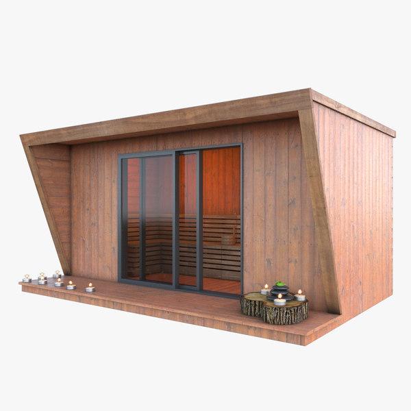 outdoor sauna kiosk model