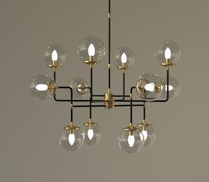 12 light lamp french 3D model