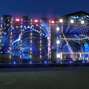mega dj stage scene model