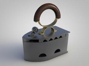 antique charcoal iron 3D model