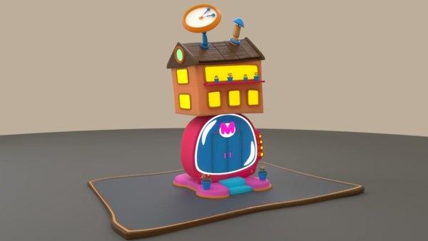 3D cartoon radio house model