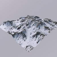 3D snowy mountain