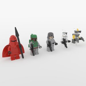 lego star wars minifigures 3D model