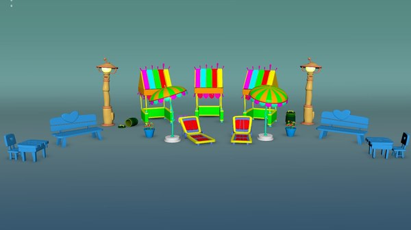 cartoon beach sets 3D model