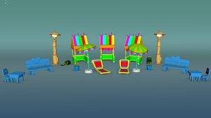 cartoon beach sets 3D model