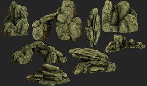 3D 8 rocks pack model