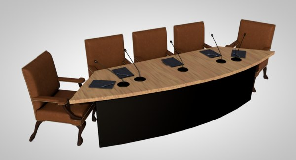 table chairs desk 3D