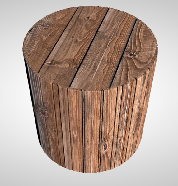 wood burl chair stool 3D model